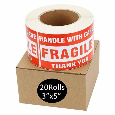 """20 Rolls Large 3"""" x 5"""" Fragile Stickers Handle with Care Thank You 10000 Labels"""