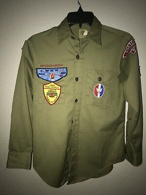 BOY SCOUTS Of America Olive Uniform Youth Longs Peak Council WWW KOLA BSA Shirt