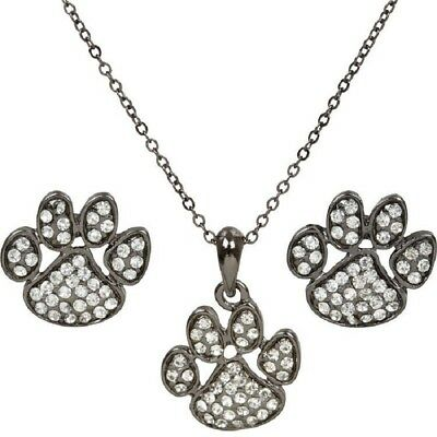 NEW Animal Paw Print Pet Rescue Team Mascot Pave Crystal Necklace Earrings Set
