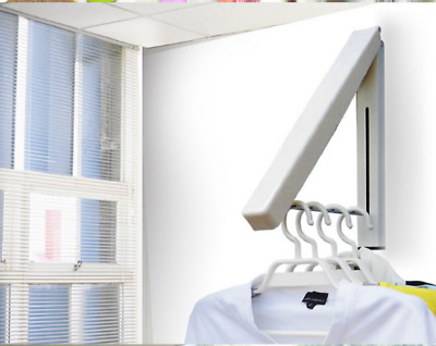 Folding Collapsible Wall Mounted Clothes Storage/Drying Rack Single Pack White