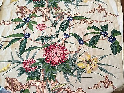 """Antique Vintage Shabby Cottage Floral Heavy Cotton Fabric Pink Green Blue 37x53"""""""