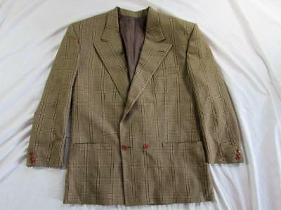 a7b130a7d25d7 Vtg 80s Gianni Versace Double Breasted Wool Plaid Blazer Sport Coat Jacket  RARE