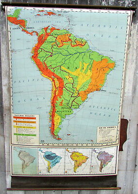 VINTAGE 1947  ROLL DOWN OLD SCHOOL 4' x 6'  WALL MAP OF SOUTH AMERICA