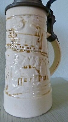 Zsolnay Old Ivory Tankard with Pewter Top from Circa 1900 in Excellent Condition