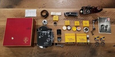 Vintage BOLEX PAILLARD H16 16mm Cine Movie Camera w Kern Lens Lot ORIGINAL BOX