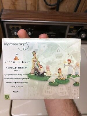 Dept 56 Seasons Bay - A Stroll In The Park - Set of 5 EXCELLENT CONDITION