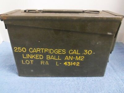 30 Cal Ammo Box Army Military L-43142 Metal Holds 250 Cartridges EMPTY United