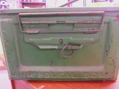 50 Cal M2 Linked Metal Ammo Box Army Military EMPTY US Flaming Bomb