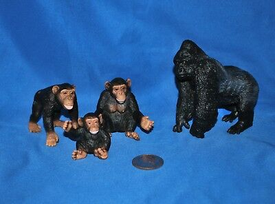 Schleich Monkey Lot in Very Good Used Cond. 3 Chimps, 1 Silverback Gorilla