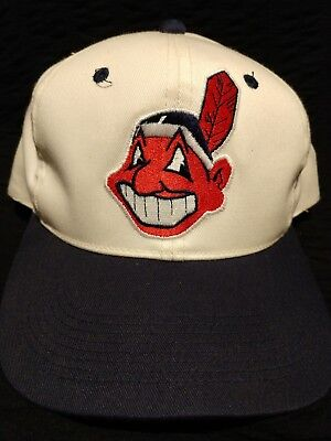51cdad03bb289 New CLEVELAND INDIANS Adjustable Hat CHIEF WAHOO Cap Blue White BASEBALL