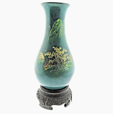 """Antique China Hand Painted Lacquer Wood Vase 2.75"""" with Stand"""