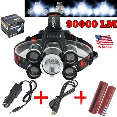 90000LM T6 XPE LED Headlamp Head Flashlight Light Torch 4 Modes 18650 & Charger