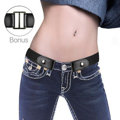 Genuine Leather Buckle-free Elastic Comfortable Invisible Belt No Bulge Hassle