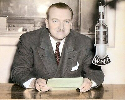 "WALTER CRONKITE BROADCAST JOURNALIST WMT RADIO 8x10"" HAND COLOR TINTED PHOTO"