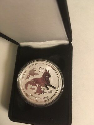 "2018 Australian 1 0z. SILVER ""Year of the Dog"" Proof coin w COA & Box!"