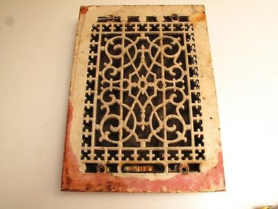 Antique Cast Iron Ornate Vent Register Floor Wall Louvers Vtg Victorian