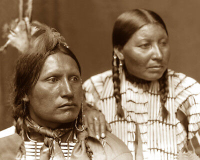 American Horse & Wife 1898 Sioux Native American Sepia Photo