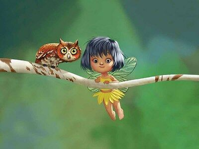 Holiday Gifts Home Decor Owl And Fairy Oil Painting Picture Printed on Canvas