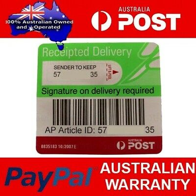 Auspost signature on delivery tracking labels, receipted, registered
