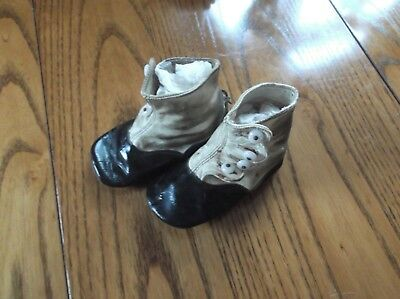 Antique Victorian Baby / Child Leather Button -up High Top ShoesBlack Two Tone!