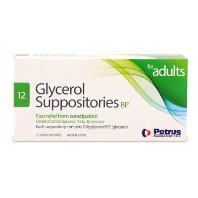 * Petrus Glycerol Suppositories Bp For Adults 12 Pack Constipation Relief 2.8G