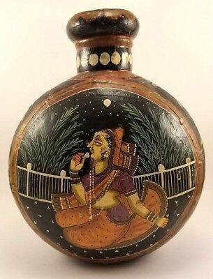 Antique Indian Hand Painted Tin Water Bottle Vase Rajasthan India Metal