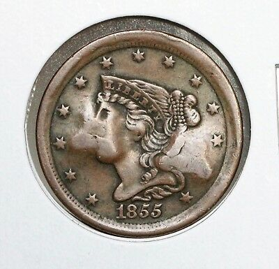1855 1/2C Braided Hair Half Cent Counter Stamped Nice Xf Coin!!!