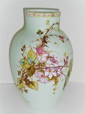 X- Large Beautifully Detailed Hand Painted Victorian Satin Or Bristol Vase