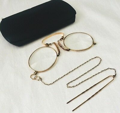 ANTIQUE 12K Gold Filled SPRING PINCE NEZ. TINTED Spectacles with Hairpin Chain