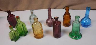 "Wheaton Miniature Colored Glass Medicine Bottles Reproductions 2.25"" to 3.25"""