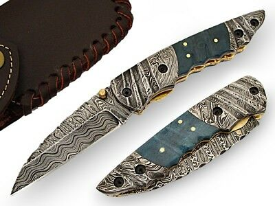 Browning Hand Crafted Folding Knife Damascus Steel Blade & Bolsters AT-1413