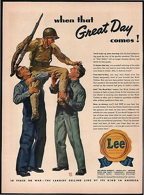 Vintage magazine ad LEE WORK CLOTHES 1943 H D Lee Company World War II soldier