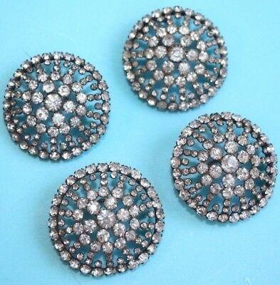 Antique Victorian Prong Set Ornate Pave Rhinestone Filigree Round Dome Buttons