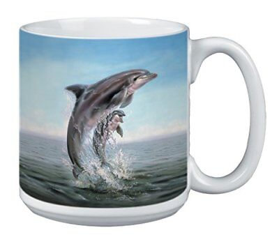 Dolphin Leaping Extra Large Mug, 20-Ounce Jumbo Ceramic Coffee Mug Cup, Wildlife