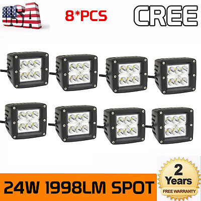 8X 24W SPOT LED Cube Pods Work Light 3X3 Offroad Truck Jeep Square 4WD Fog Lamp