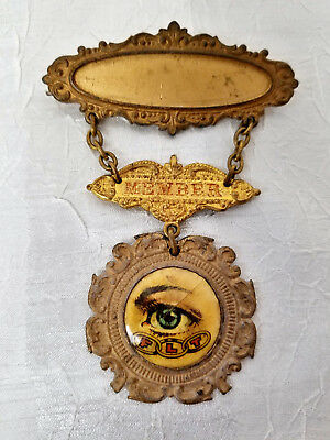 UNUSUAL ORNATE ODDFELLOWS PIN with EYE