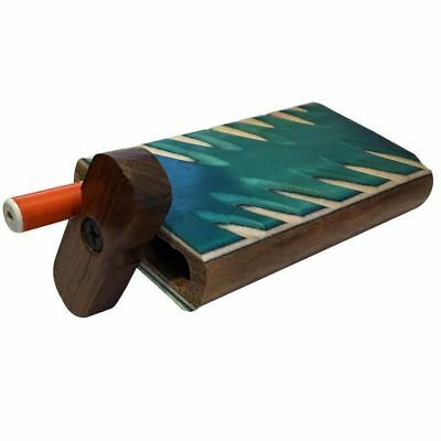 """4"""" Carved Wood Swivel Cap Dugout - Turquoise"""
