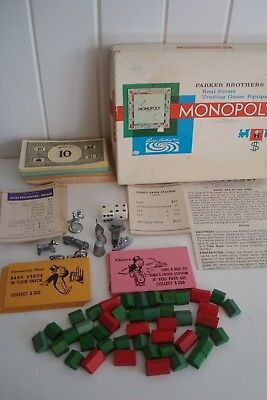 Monopoly Small Box Version - Parker Bros. With Wooden Buildings & Metal Tokens