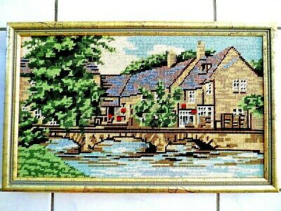 Tapestry Completed  &  Framed European Scene Building & Bridge
