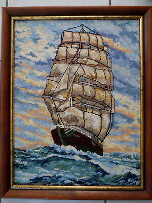 Tapestry Completed  &  Framed Sailing Tall Ship Professionally Worked & Framed