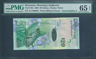 BERMUDA $20 P60a 2009 Very low number A/1 000003 PMG 65 EPQ
