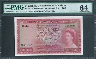 MAURITIUS 10 Rupees P28 1954 QEII PMG 64 Choice Unc Georgous and very RARE!