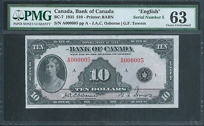 CANADA, Bank of Canada $10 1935 BC-7 PMG 63 Ch Unc. Very Low 1st prefix No.5