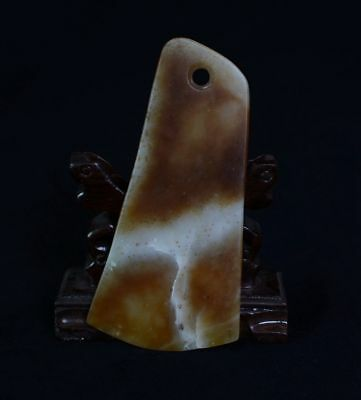 Chinese QiJia Culture Style Sacrificial Ceremony Accessory Jade Axe-JR12524