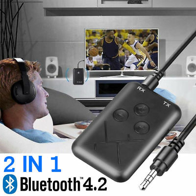2 in 1 Wireless Bluetooth Transmitter Receiver Stereo Audio USB Adapter RCA AUX
