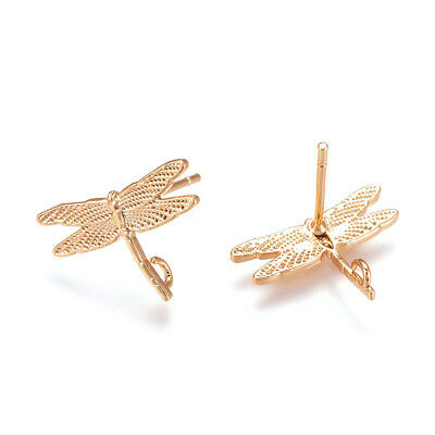 20pcs Gold Plated Brass Dragonfly Earring Posts w/ Back Loop Stud Findings 12mm