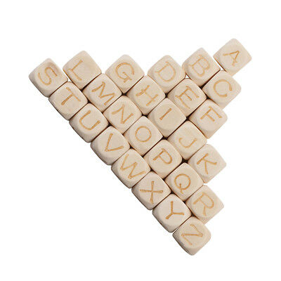 26 Natural A-Z Alphabet/Letters Cube Wooden Spacer Beads DIY Jewelry 12mm