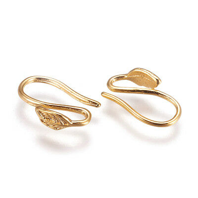 10pcs Gold Plated Brass Earring Hooks Carved Leaf End Smooth French Earwire 12mm
