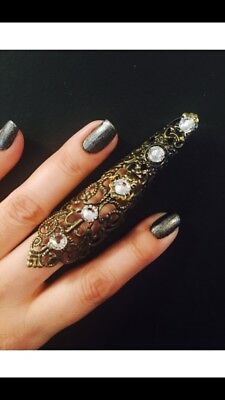 Shield Full finger ring, armor ring, made with a vintage style filigree,Brass co