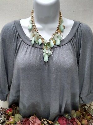 Beautiful GoldTone Leaf Mint Green White Lucite Glass Draping Necklace FREE SHIP